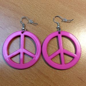 New Pink Peace Sign Earrings